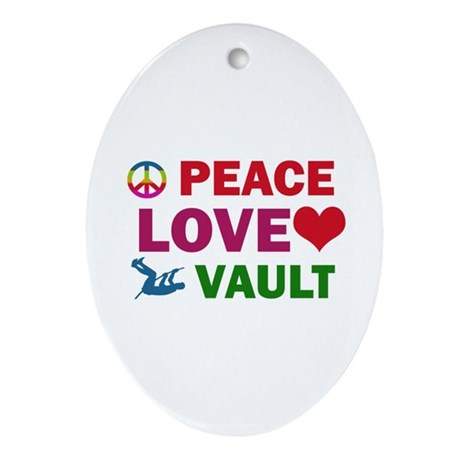 Peace Love Vault Designs Ornament (Oval)