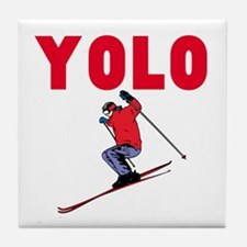 Yolo Skiing Tile Coaster