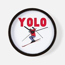 Yolo Skiing Wall Clock