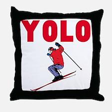 Yolo Skiing Throw Pillow