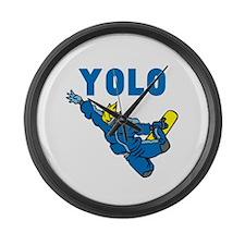 Yolo Snowboarding Large Wall Clock