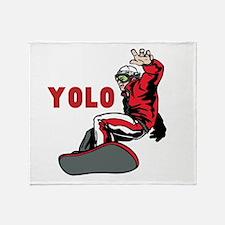Yolo Snowboarding Throw Blanket