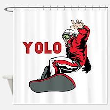 Yolo Snowboarding Shower Curtain