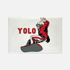 Yolo Snowboarding Rectangle Magnet