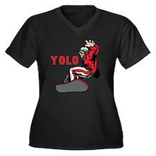 Yolo Snowboarding Women's Plus Size V-Neck Dark T-