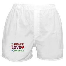 Peace Love Wrestle Designs Boxer Shorts