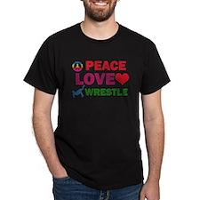 Peace Love Wrestle Designs T-Shirt