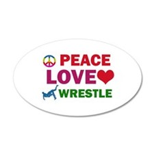 Peace Love Wrestle Designs Wall Decal