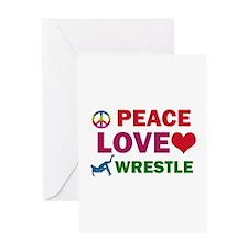 Peace Love Wrestle Designs Greeting Card