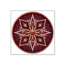 "Native American Rosette 14 Square Sticker 3"" x 3"""