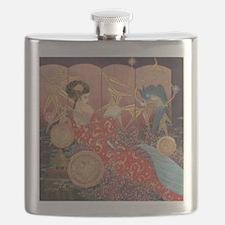 Geisha and Parrot Flask