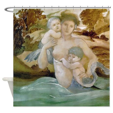 Edward Burne Jones Mermaid Offspring Shower Curtai