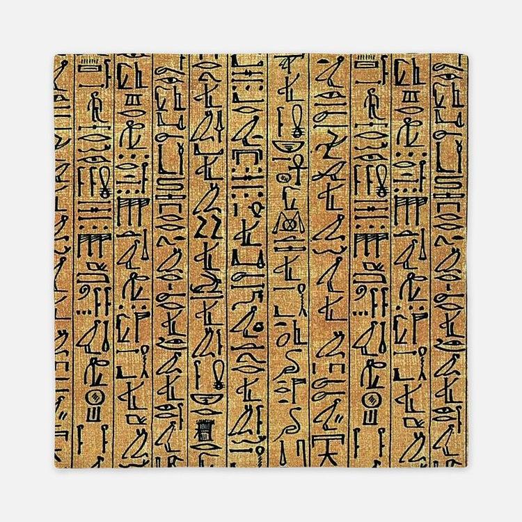 Papyrus Hieroglyphic Queen Duvet