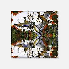"Duck Flight Reflection Square Sticker 3"" x 3"""