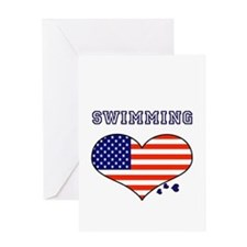 I LOVE SWIMMING THE STARS AND STRIPES Greeting Car