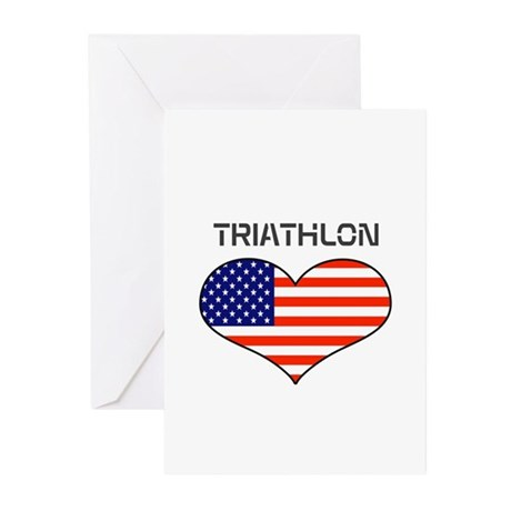 LOVE TRIATHLON STARS AND STRIPES Greeting Cards (P