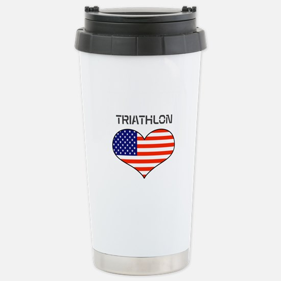 LOVE TRIATHLON STARS AND STRIPES Stainless Steel T