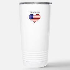 LOVE TRIATHLON STARS AND STRIPES Travel Mug