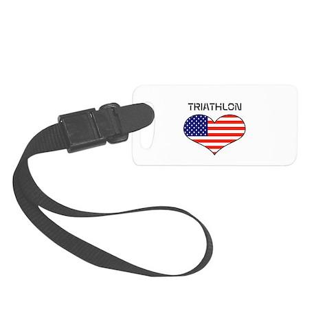 LOVE TRIATHLON STARS AND STRIPES Small Luggage Tag
