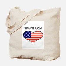 LOVE TRIATHLON STARS AND STRIPES Tote Bag