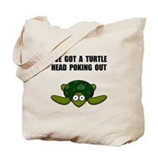 Turtle Head Poking Out Tote Bag