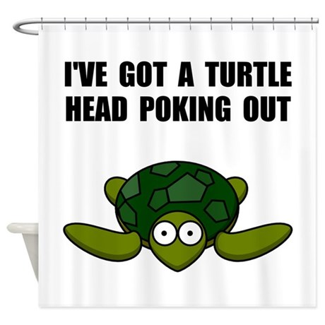 Turtle Head Poking Out Shower Curtain