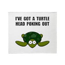 Turtle Head Poking Out Throw Blanket