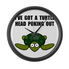 Turtle Head Poking Out Large Wall Clock