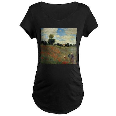 Monet Wild Poppies (detail) Maternity Dark T-Shirt