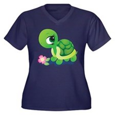 Toshi the Turtle Women's Plus Size V-Neck Dark T-S