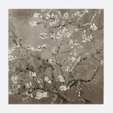 Almond Branches In Bloom (Sepia) Tile Coaster