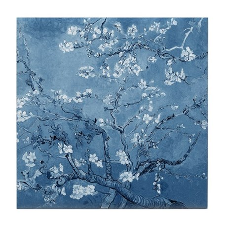 Almond Branches In Bloom (Blue) Tile Coaster