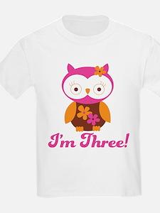 I'm Three Retro Owl T-Shirt