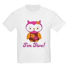 I'm Five Retro Owl T-Shirt