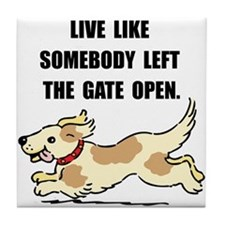 Dog Gate Open Tile Coaster