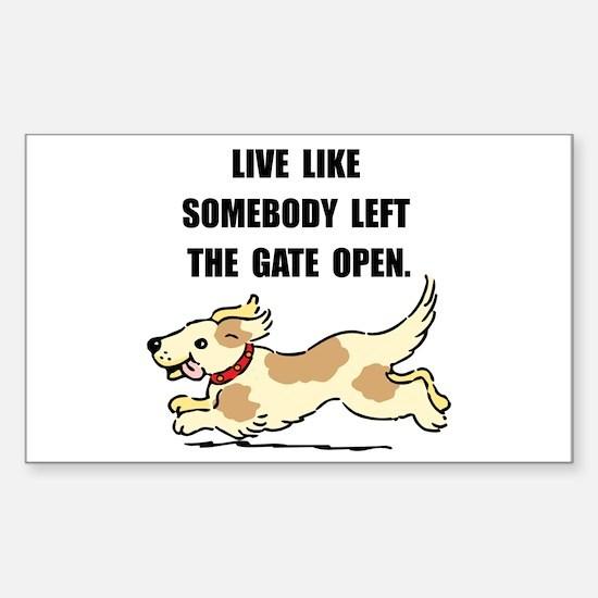 Dog Gate Open Sticker (Rectangle)