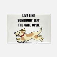 Dog Gate Open Rectangle Magnet