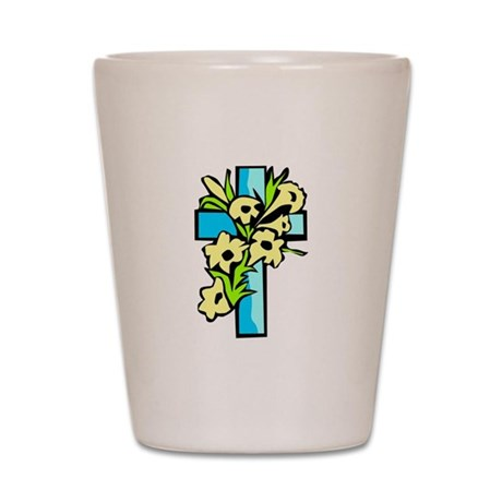 Blue Cross Shot Glass