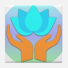 Lotus Flower - Healing Hands Tile Coaster