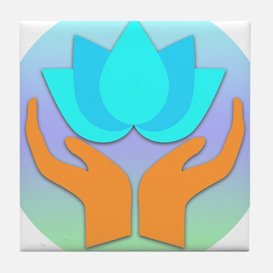 Lotus Flower - Healing Hands Tile Coaster