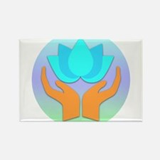 Lotus Flower - Healing Hands Rectangle Magnet