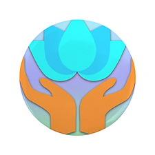 """Lotus Flower - Healing Hands 3.5"""" Button"""