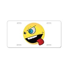 Intense Smiley Face Aluminum License Plate