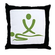 Green massage design Throw Pillow