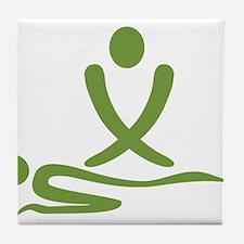 Green massage design Tile Coaster