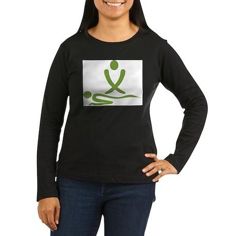 Green massage design Women's Long Sleeve Dark T-Sh