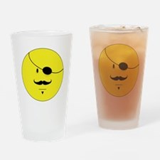 Mustache Smiley Face Drinking Glass