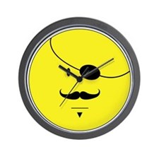 Mustache Smiley Face Wall Clock