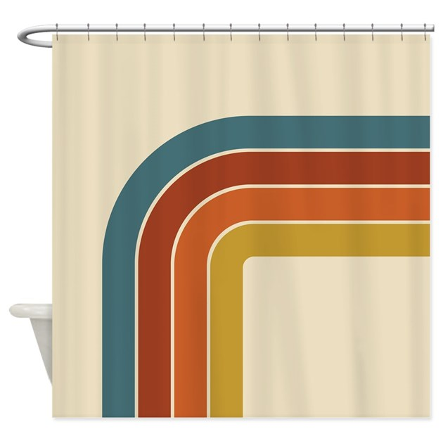 Retro Curve Shower Curtain By Oddmatterhome