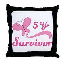 Breast Cancer 5 Year Survivor Throw Pillow